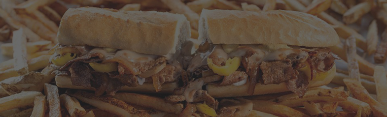 philly cheesesteak on a bed of fries